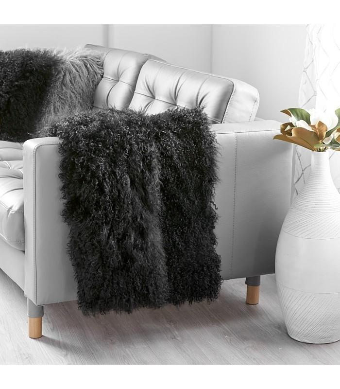 Black Mongolian Fur Blanket / Fur Throw (48x72 in)