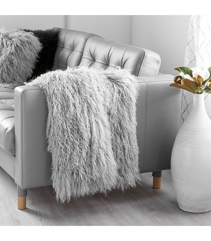 Grey Mongolian Fur Blanket / Fur Throw (48x72 in)