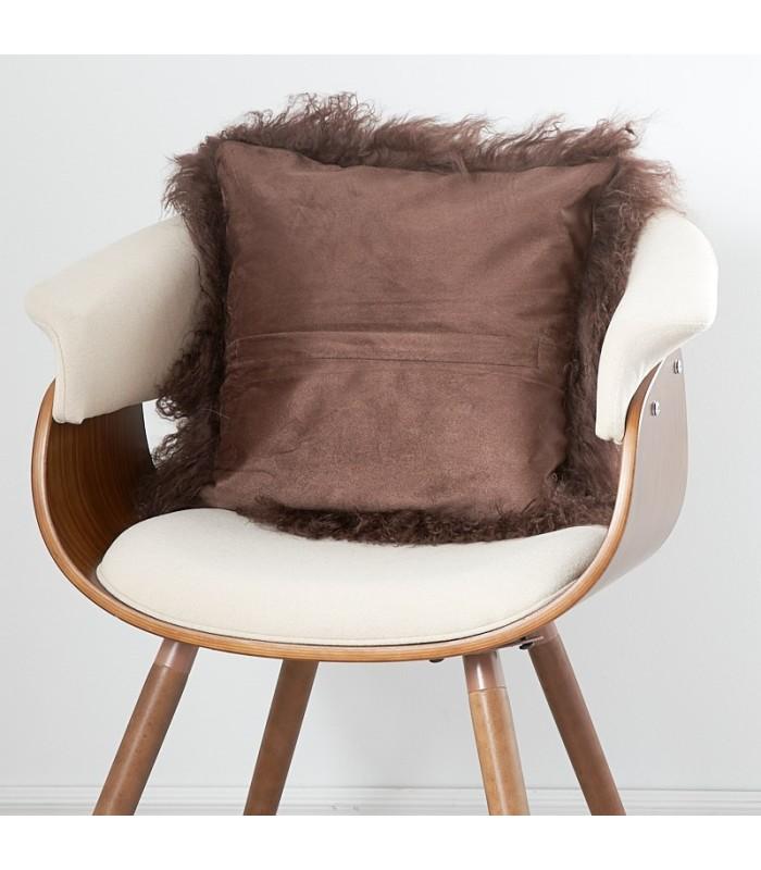 Brown Mongolian Lamb Fur Pillow / Cushion