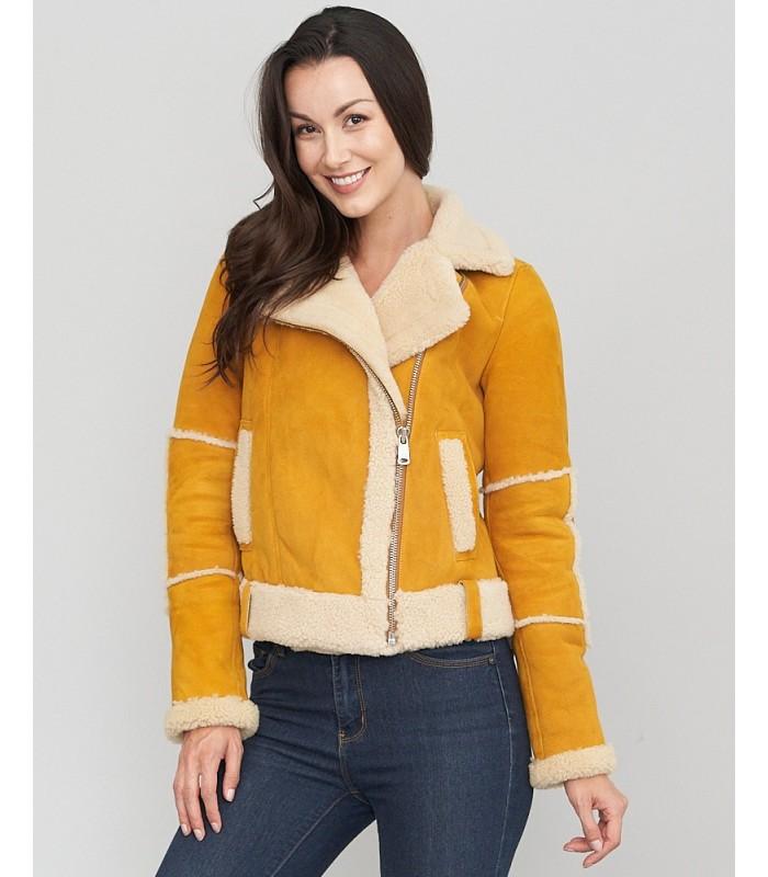 Yellow Shearling Sheepskin Moto Jacket