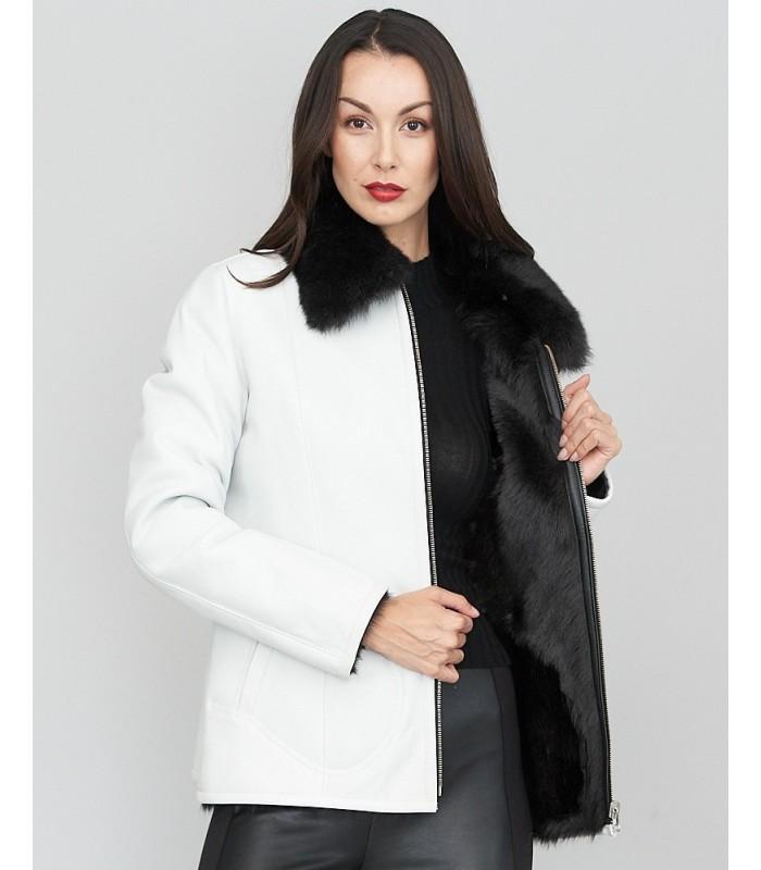 White Toscana Shearling Sheepskin Jacket