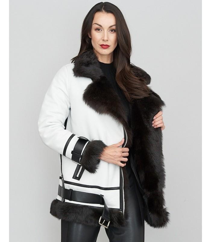 White Leather Moto Jacket with Sheepskin