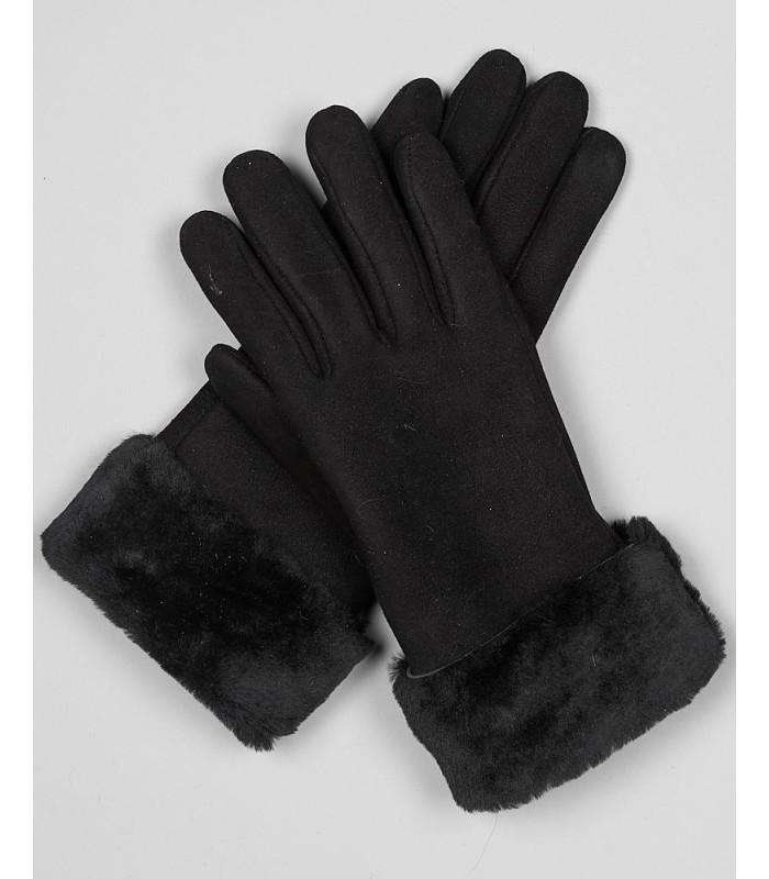 North Ice Shearling Sheepskin Gloves in Black