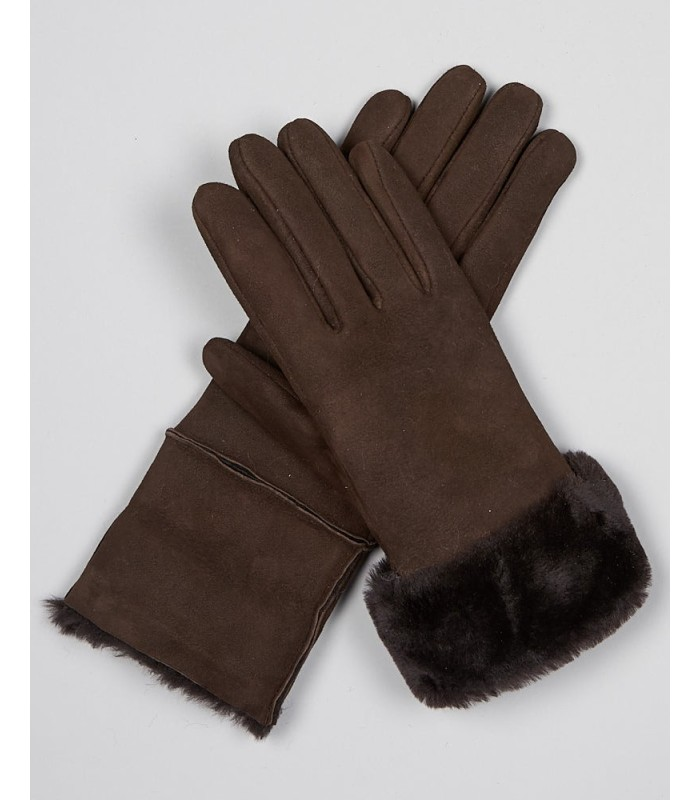 North Ice Shearling Sheepskin Gloves in Brown