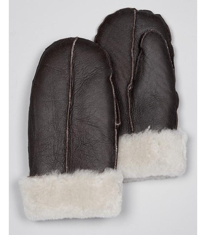 Men's Brown Manitoba Napa Leather Shearling Sheepskin Mittens