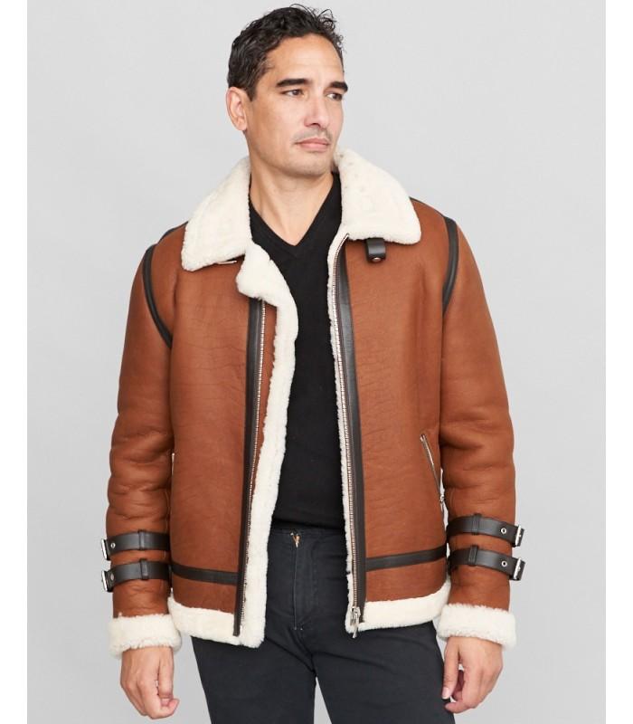 Shearling Sheepskin Moto Jacket in Brown