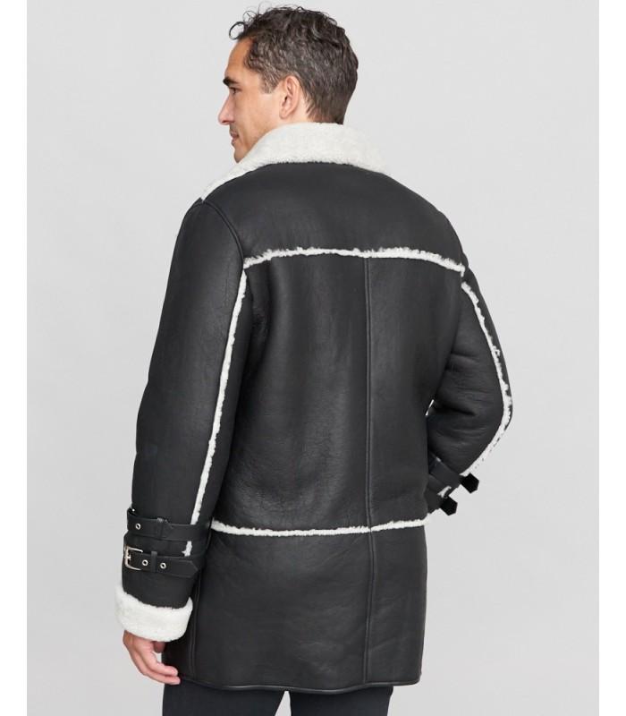 Shearling Sheepskin Car Coat in Black