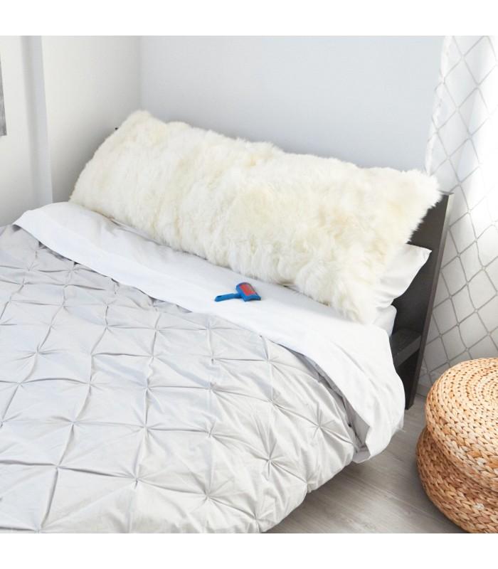 One Sided Ivory Longwool Sheepskin Body Pillow