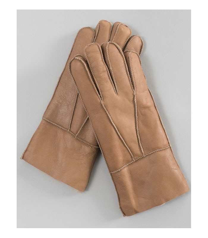 Alpine Napa Leather Shearling Sheepskin Gloves in Tan
