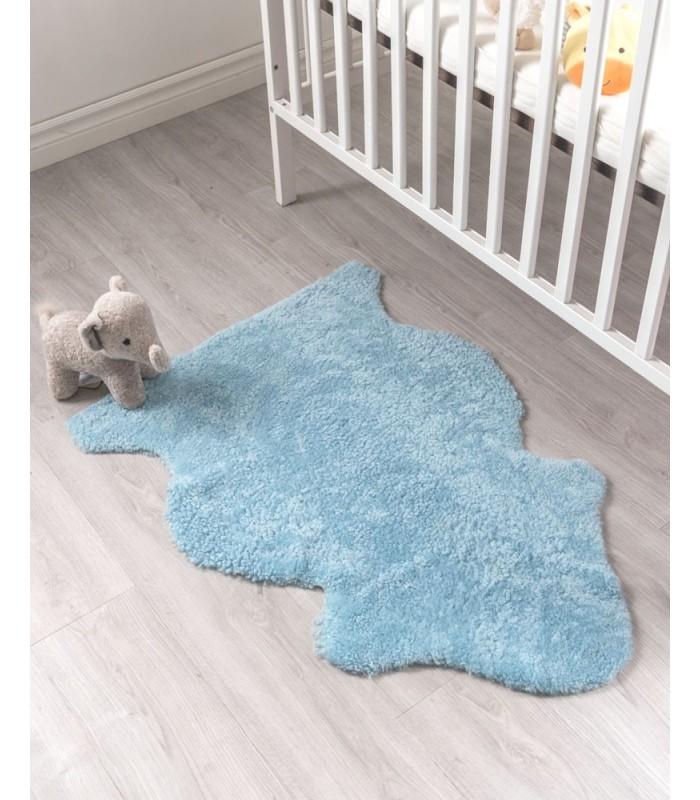 Kid's Baby Blue Sheepskin Rug (2x3.5 ft)