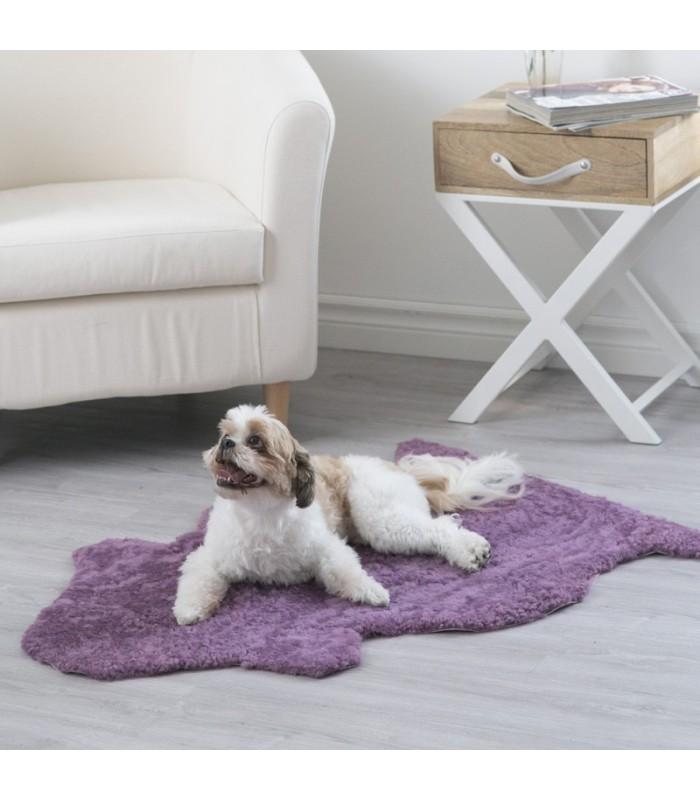 Purple Curly Sheepskin Pet Bed (2x3.5 ft)