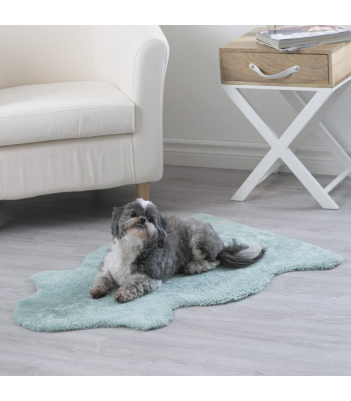 Teal Curly Sheepskin Pet Bed (2x3.5 ft)