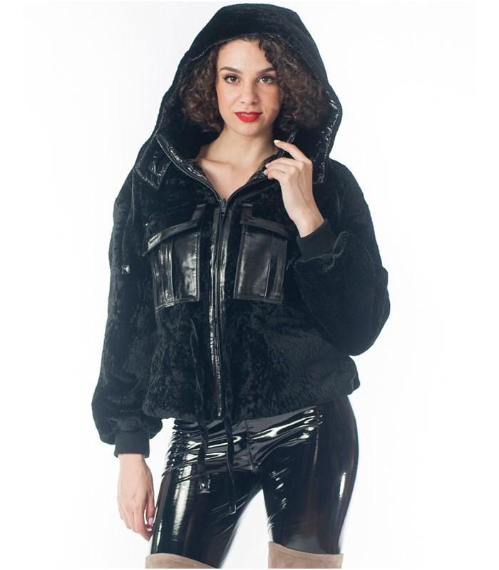 Hooded Shearling Sheepskin Bomber Jacket in Black