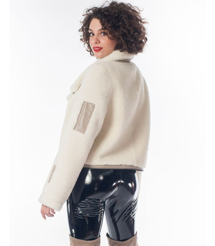 Shearling Sheepskin Moto Jacket in White