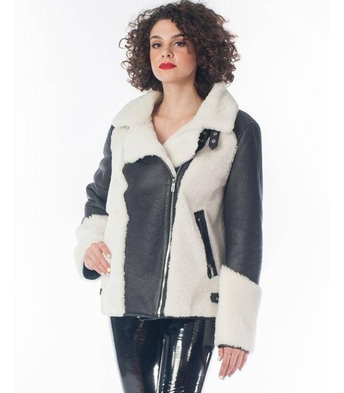 Women's Shearling Sheepskin and Leather Moto Jacket