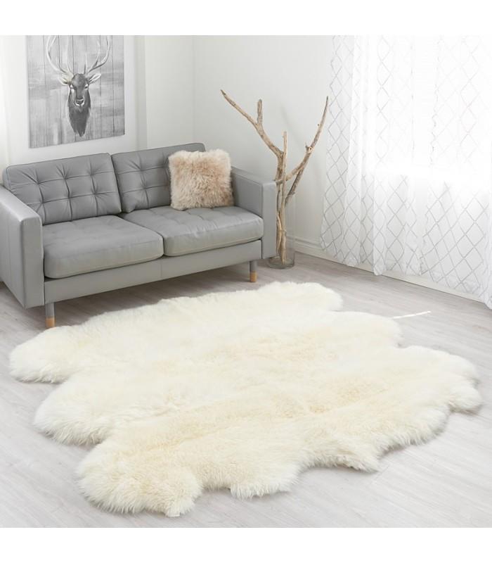 Large Ivory White Sheepskin Rug - 6-pelt Sexto (5.5x6 ft)