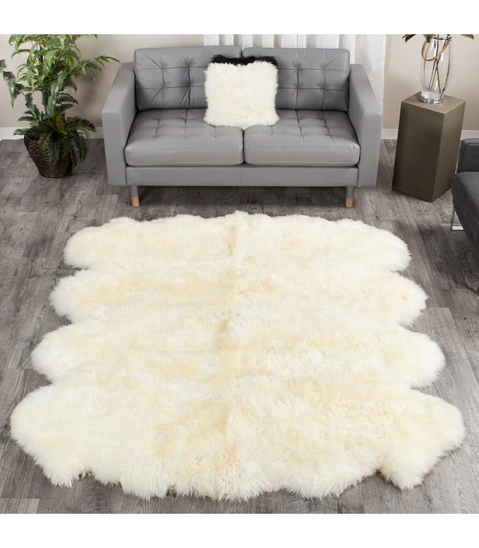 Ivory White Extra Large Sheepskin Rug - 8-Pelt Octo (7x6 ft)