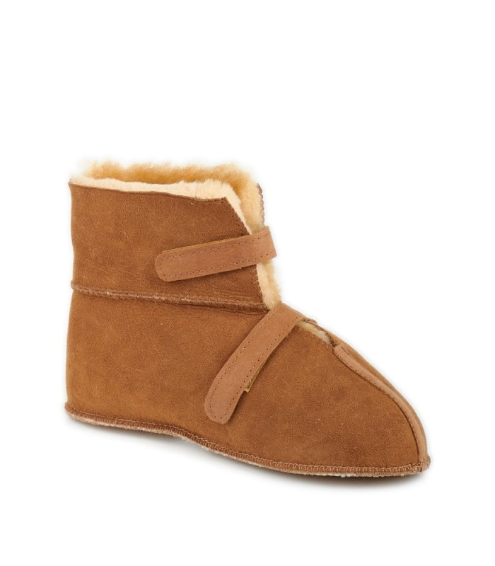 Wide Opening Sheepskin Cabin Slippers with Velcro Closure
