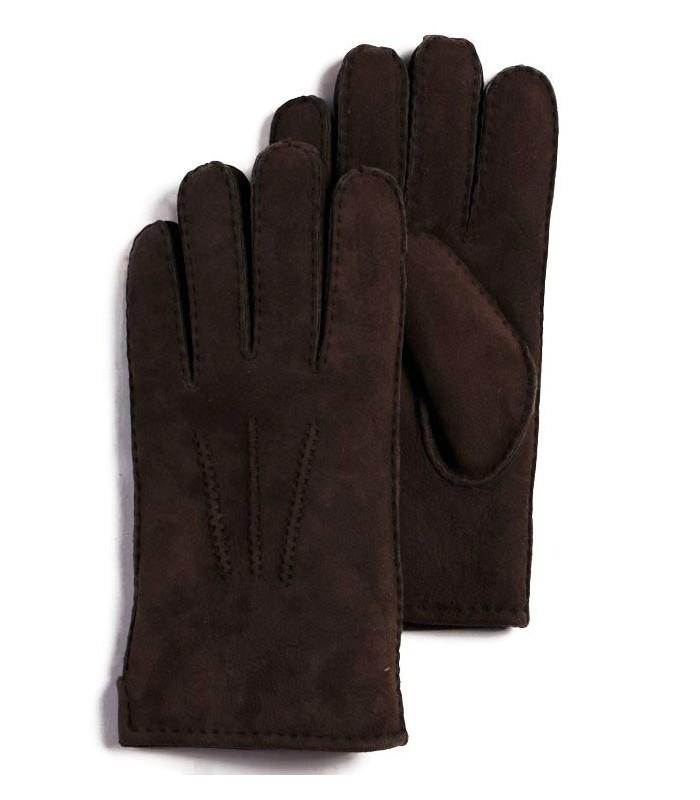 Brown Sheepskin Suede Leather Gloves for Men