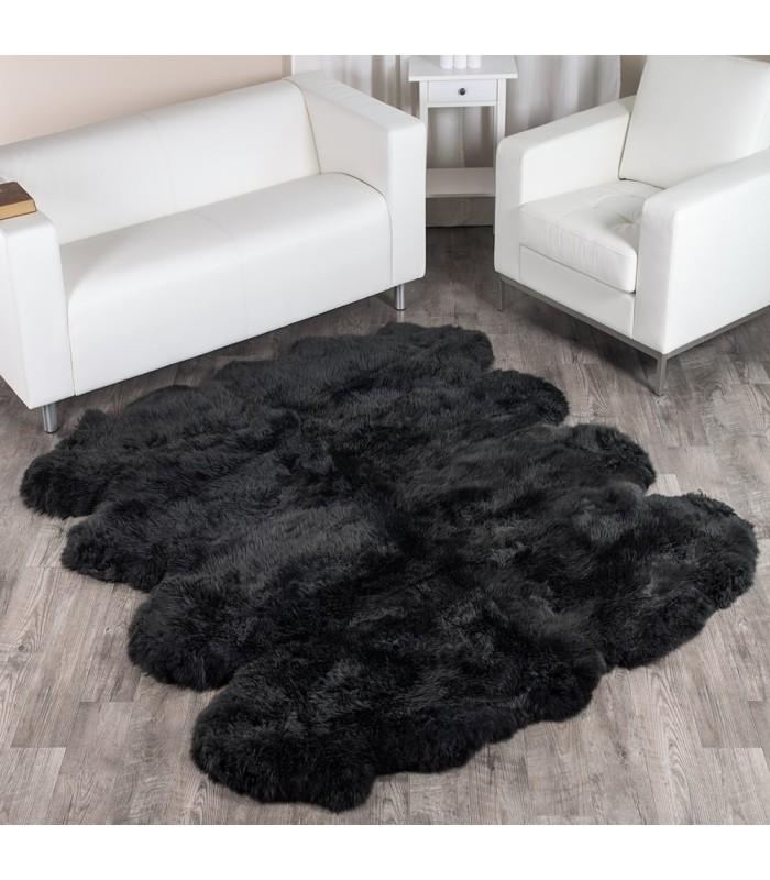 Black Extra Large Sheepskin Rug - 8-Pelt Octo (7x6 ft)