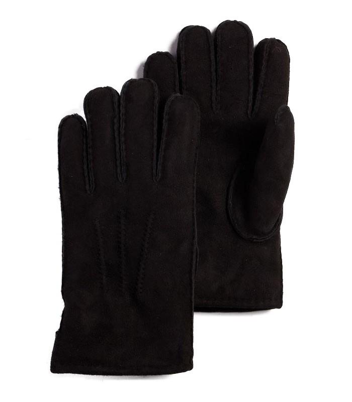 Black Sheepskin Suede Leather Gloves for Men