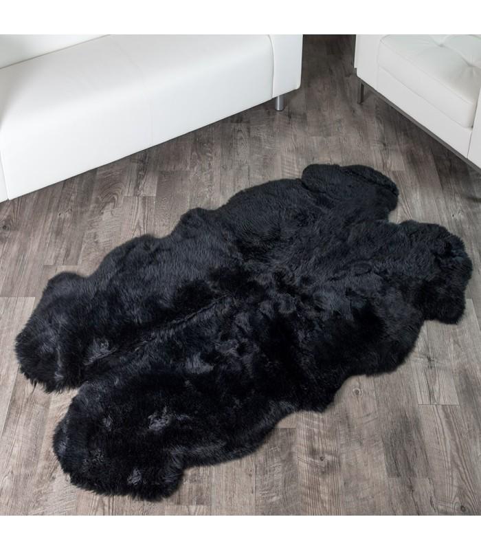 Sheepskin Area Rug Black Four Pelt - Quatro (4x6 ft)