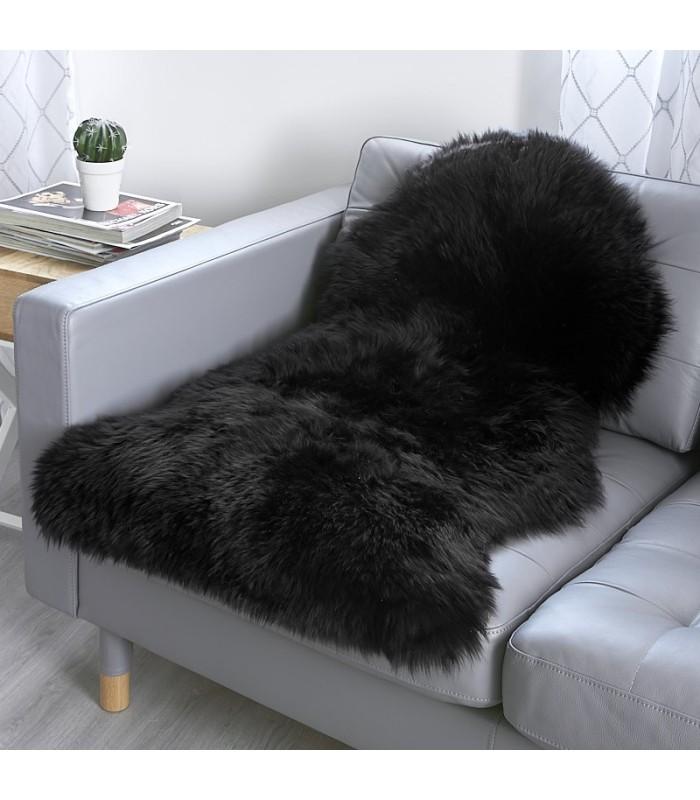 Black Sheepskin Rug (2x3.5 ft)