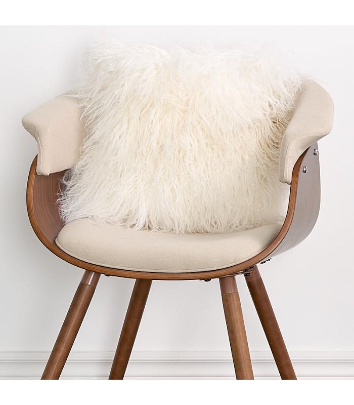Ivory White Mongolian Lamb Fur Pillow / Cushion