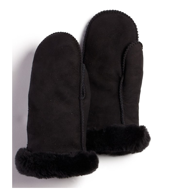 Women's Black Alaska Sheepskin Mittens