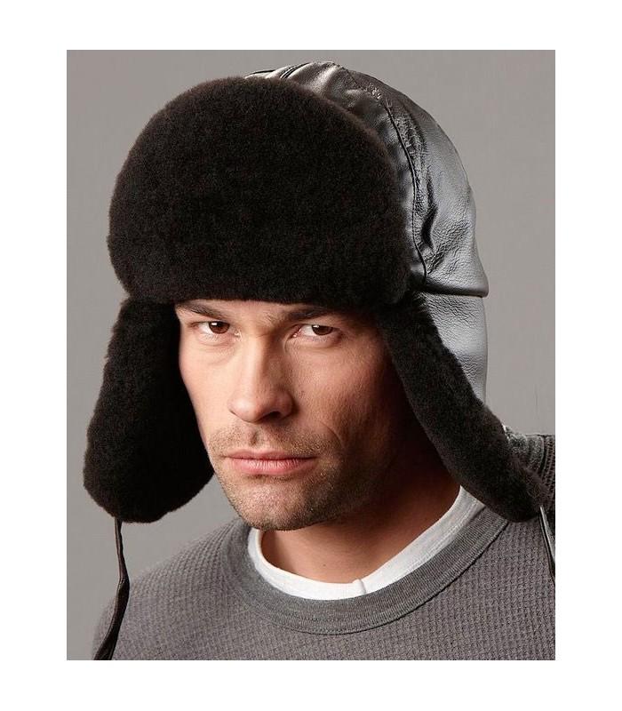 Black Trapper Hat - Mouton Sheepskin & Leather