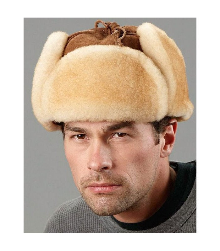 Tan Trapper Hat - Alaska Shearling Sheepskin