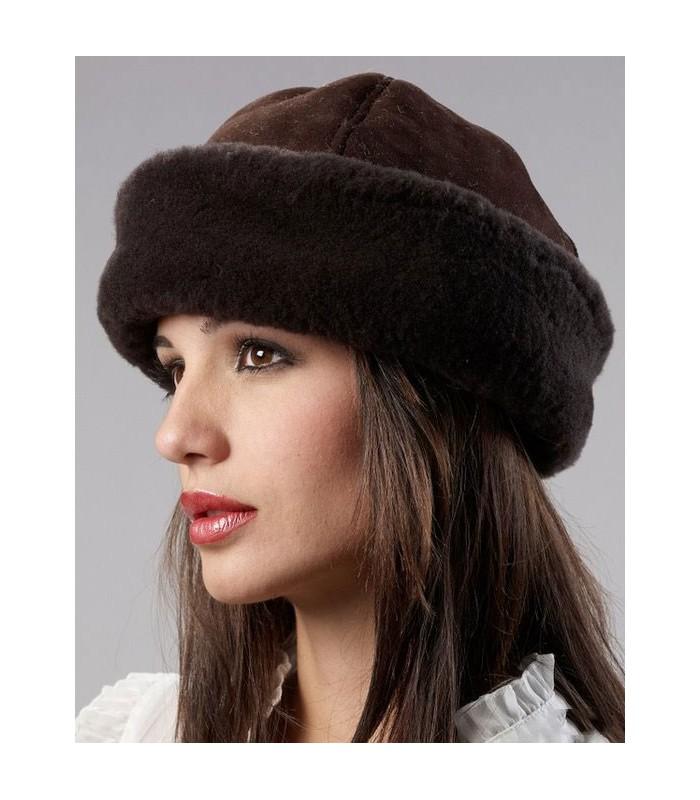 Brown Olie Hat - Shearling Sheepskin