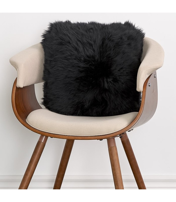 Double Sided Midnight Black Longwool Pillow / Cushion