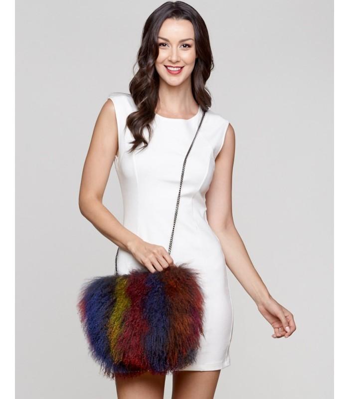 Mongolian Lamb Fur Purse in Multi-Color