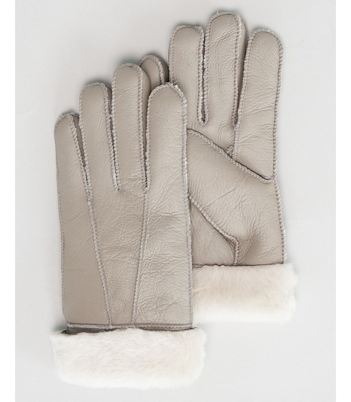 Alpine Napa Leather Shearling Sheepskin Gloves in Light Grey