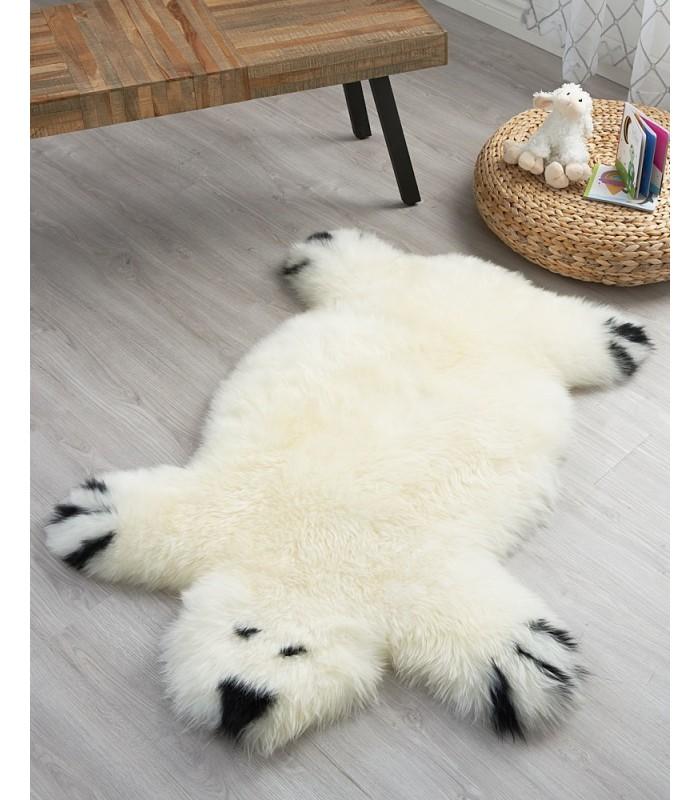 Kid's White Bear Sheepskin Rug
