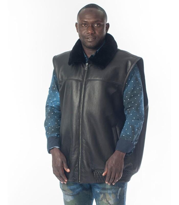 Shearling Sheepskin Bomber Vest in Black