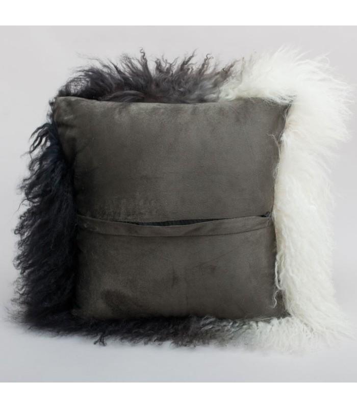 Dark Ombre Mongolian Sheepskin Pillow