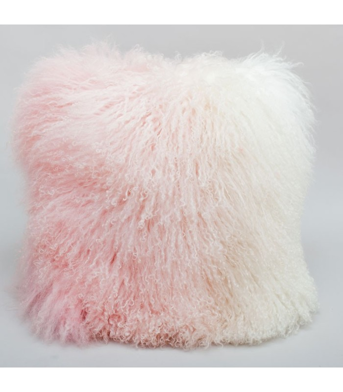 Pink Ombre Mongolian Sheepskin Pillow