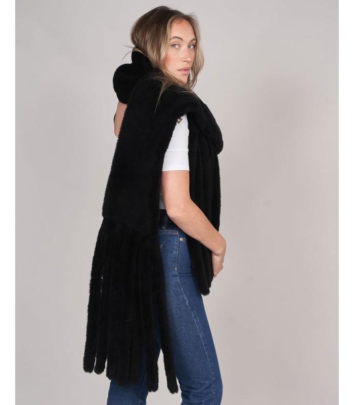Shearling Sheepskin Tassel Scarf - Black