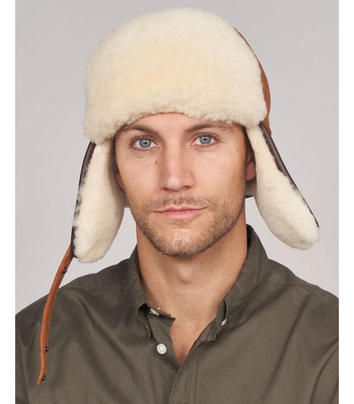Shearling Sheepskin Aviator Hat in Cognac
