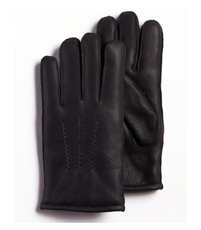 Black Napa Leather Sheepskin Gloves for Men