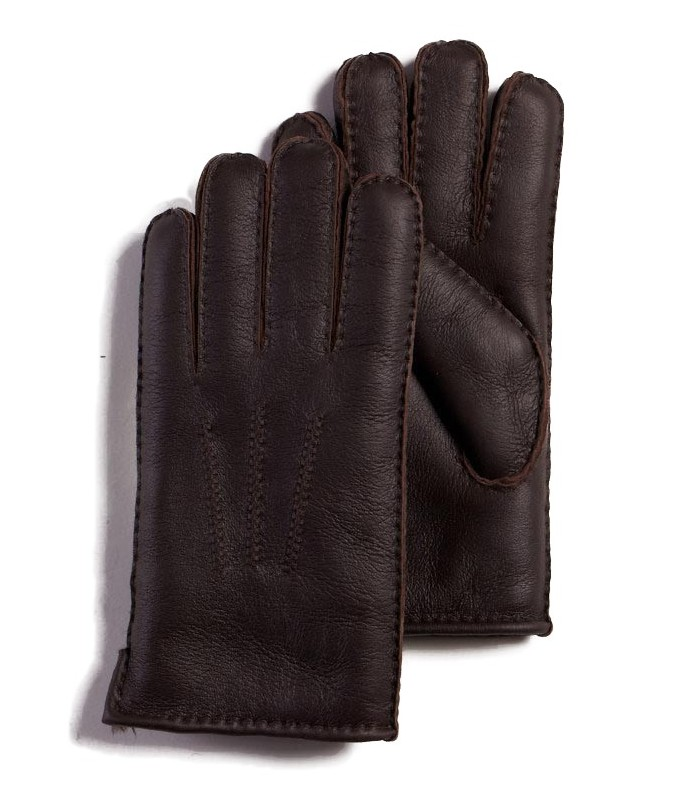 Brown Napa Leather Sheepskin Gloves for Men