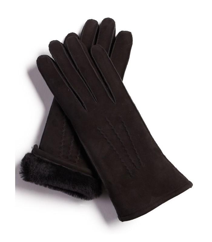 Black Sheepskin Suede Gloves for Women