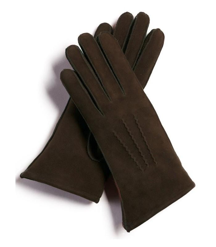 Brown Sheepskin Suede Gloves for Women