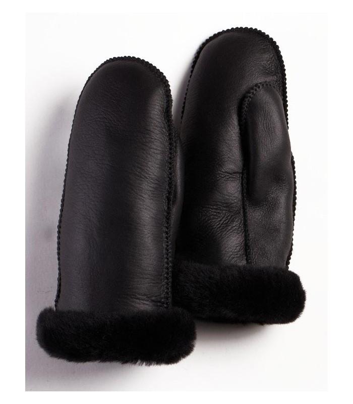 Women's Black Napa Alaska Sheepskin Mittens