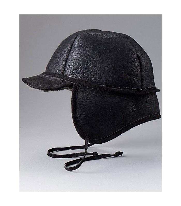 Frosted Black Shearling Sheepskin Hat - Fudd Hat