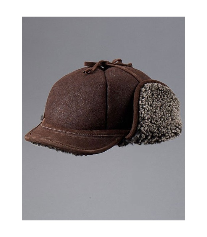 Frosted Brown Shearling Sheepskin Hat - Fudd Hat