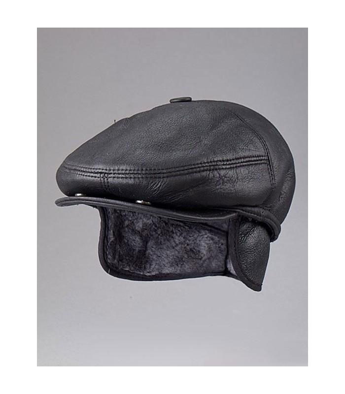Black Polo Hat - Shearling Sheepskin