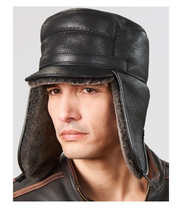 Black Captain Hat - Shearling Sheepskin